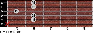 Cm11#5/D# for guitar on frets x, 6, 6, 5, 6, 6