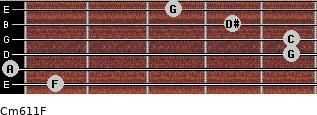 Cm6/11/F for guitar on frets 1, 0, 5, 5, 4, 3