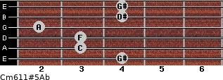 Cm6/11#5/Ab for guitar on frets 4, 3, 3, 2, 4, 4