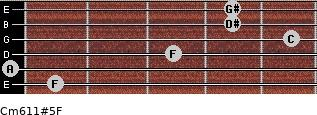 Cm6/11#5/F for guitar on frets 1, 0, 3, 5, 4, 4