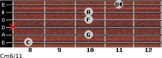 Cm6/11 for guitar on frets 8, 10, x, 10, 10, 11