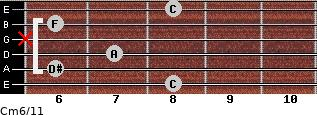 Cm6/11 for guitar on frets 8, 6, 7, x, 6, 8