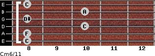 Cm6/11 for guitar on frets 8, 8, 10, 8, 10, 8