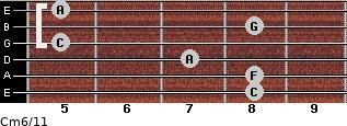 Cm6/11 for guitar on frets 8, 8, 7, 5, 8, 5