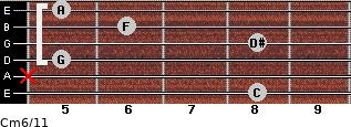 Cm6/11 for guitar on frets 8, x, 5, 8, 6, 5