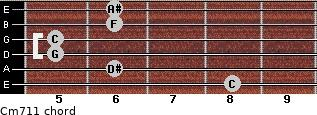 Cm7/11 for guitar on frets 8, 6, 5, 5, 6, 6
