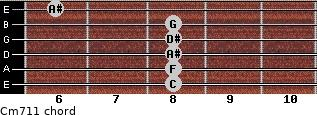 Cm7/11 for guitar on frets 8, 8, 8, 8, 8, 6