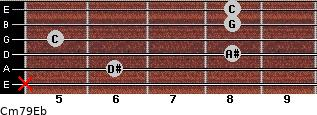 Cm7\9\Eb for guitar on frets x, 6, 8, 5, 8, 8