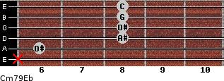 Cm7\9\Eb for guitar on frets x, 6, 8, 8, 8, 8