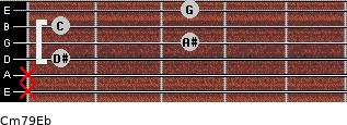 Cm7\9\Eb for guitar on frets x, x, 1, 3, 1, 3