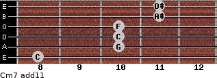 Cm7(add11) for guitar on frets 8, 10, 10, 10, 11, 11