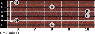 Cm7(add11) for guitar on frets 8, 6, 10, 10, 8, 6