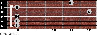 Cm7(add11) for guitar on frets 8, 8, 8, 12, 8, 11