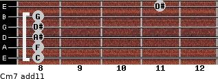 Cm7(add11) for guitar on frets 8, 8, 8, 8, 8, 11