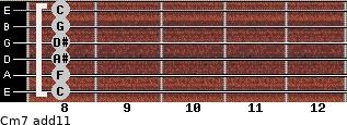 Cm7(add11) for guitar on frets 8, 8, 8, 8, 8, 8