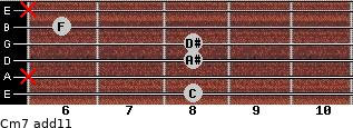 Cm7(add11) for guitar on frets 8, x, 8, 8, 6, x