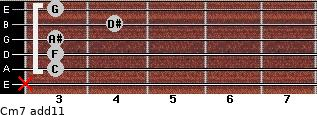 Cm7(add11) for guitar on frets x, 3, 3, 3, 4, 3