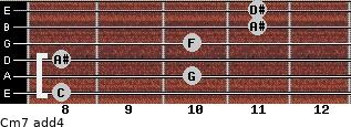 Cm7(add4) for guitar on frets 8, 10, 8, 10, 11, 11