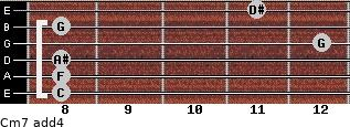Cm7(add4) for guitar on frets 8, 8, 8, 12, 8, 11