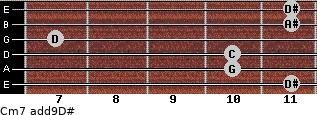 Cm7(add9)\D# for guitar on frets 11, 10, 10, 7, 11, 11