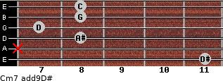 Cm7(add9)\D# for guitar on frets 11, x, 8, 7, 8, 8