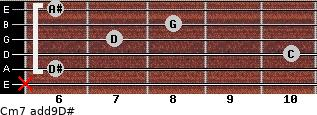 Cm7(add9)\D# for guitar on frets x, 6, 10, 7, 8, 6