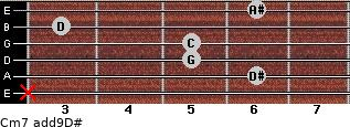 Cm7(add9)\D# for guitar on frets x, 6, 5, 5, 3, 6