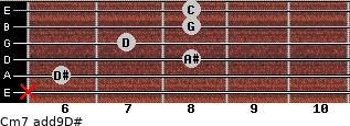 Cm7(add9)\D# for guitar on frets x, 6, 8, 7, 8, 8