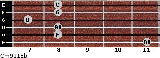 Cm9/11/Eb for guitar on frets 11, 8, 8, 7, 8, 8