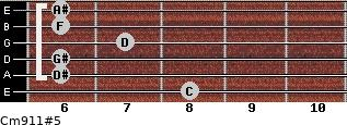 Cm9/11#5 for guitar on frets 8, 6, 6, 7, 6, 6