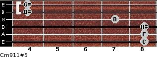 Cm9/11#5 for guitar on frets 8, 8, 8, 7, 4, 4