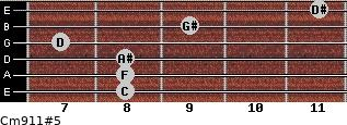 Cm9/11#5 for guitar on frets 8, 8, 8, 7, 9, 11
