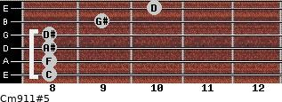 Cm9/11#5 for guitar on frets 8, 8, 8, 8, 9, 10