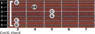 Cm\G for guitar on frets 3, 3, 5, 5, 4, 3