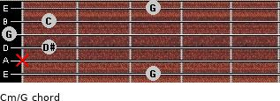 Cm\G for guitar on frets 3, x, 1, 0, 1, 3