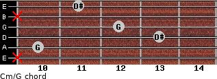 Cm\G for guitar on frets x, 10, 13, 12, x, 11