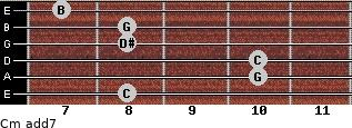 Cm(add7) for guitar on frets 8, 10, 10, 8, 8, 7