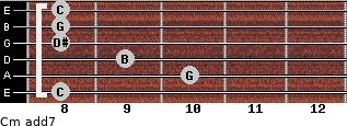 Cm(add7) for guitar on frets 8, 10, 9, 8, 8, 8