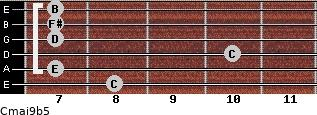 Cmaj9b5 for guitar on frets 8, 7, 10, 7, 7, 7