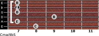 Cmaj9b5 for guitar on frets 8, 7, 9, 7, 7, 7