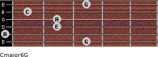 Cmajor6\G for guitar on frets 3, 0, 2, 2, 1, 3