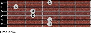 Cmajor6\G for guitar on frets 3, 3, 2, 2, 1, 3