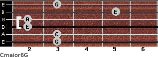 Cmajor6\G for guitar on frets 3, 3, 2, 2, 5, 3