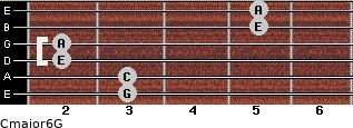 Cmajor6\G for guitar on frets 3, 3, 2, 2, 5, 5