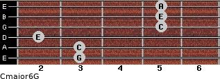Cmajor6\G for guitar on frets 3, 3, 2, 5, 5, 5