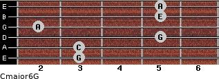 Cmajor6\G for guitar on frets 3, 3, 5, 2, 5, 5
