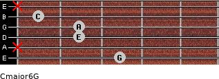 Cmajor6\G for guitar on frets 3, x, 2, 2, 1, x