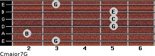 Cmajor7\G for guitar on frets 3, 2, 5, 5, 5, 3