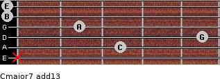 Cmajor7(add13) for guitar on frets x, 3, 5, 2, 0, 0