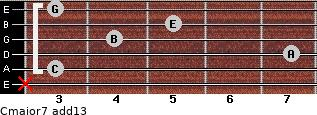 Cmajor7(add13) for guitar on frets x, 3, 7, 4, 5, 3